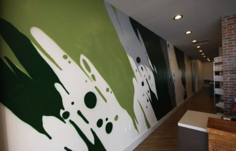 New Leaf interior wall mural.