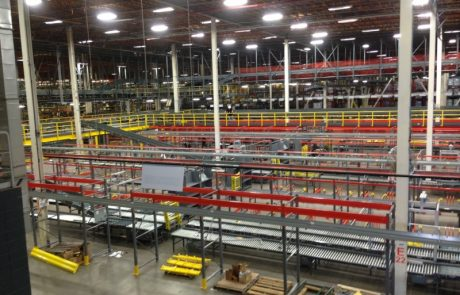 Interior of AAFES California with material handling equipment installed.
